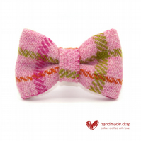 Pink Check 'Harris Tweed' Dog Bow Tie