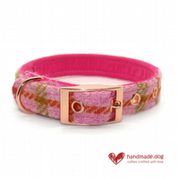 Pink Check 'Harris Tweed' Dog Collar