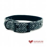 Black and Grey Herringbone 'Harris Tweed' Dog Collar