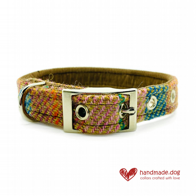 Brown and Teal Check 'Harris Tweed' Dog Collar