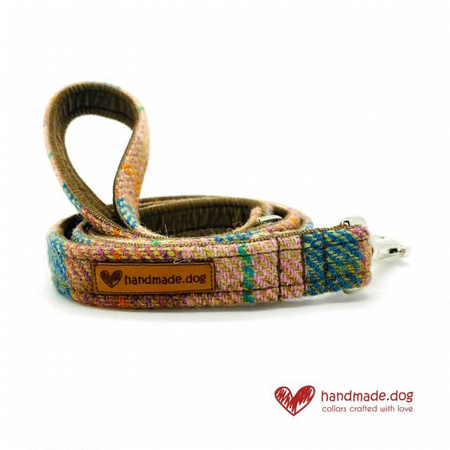 Brown and Teal Check 'Harris Tweed' Dog Lead