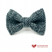 Black and Grey Herringbone 'Harris Tweed' Dog Bow Tie