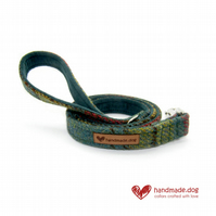 Green, Yellow and Rust Check 'Harris Tweed' Dog Lead