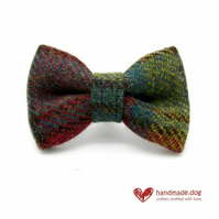 Green, Yellow and Rust Check 'Harris Tweed' Dog Bow Tie