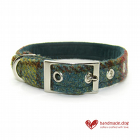 Green, Yellow and Rust Check 'Harris Tweed' Dog Collar
