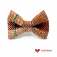 Brown and Teal Check 'Harris Tweed' Dog Bow Tie