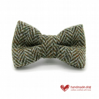 Brown Herringbone 'Harris Tweed' Dog Bow Tie