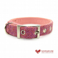 Dusky Pink 'Harris Tweed' Dog Collar