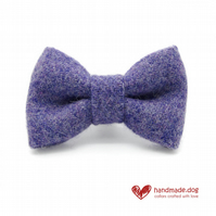 Lilac 'Harris Tweed' Dog Bow Tie