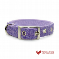 Lilac'Harris Tweed' Dog Collar