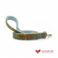 Blue and Mustard Check 'Harris Tweed' Dog Lead