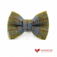 Blue and Mustard Check 'Harris Tweed' Dog Bow Tie