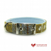 Blue and Mustard Check 'Harris Tweed' Dog Collar