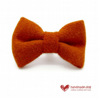 Orange 'Harris Tweed' Dog Bow Tie