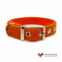 Orange 'Harris Tweed' Dog Collar