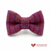 Pink and Multicolour 'Harris Tweed' Dog Bow Tie