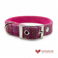 Pink Multicolour 'Harris Tweed' Dog Collar