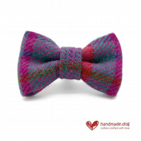 Purple, Pink and Turquoise Check 'Harris Tweed' Dog Bow Tie