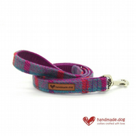 Purple, Pink and Turquoise Check 'Harris Tweed' Dog Lead