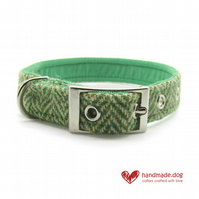 Green Herringbone 'Harris Tweed' Dog Collar