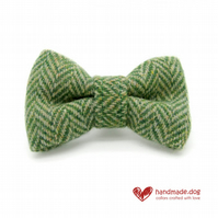 Green Herringbone 'Harris Tweed' Dog Bow Tie