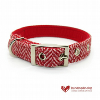 Red Herringbone 'Harris Tweed' Dog Collar