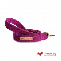 Plum 'Harris Tweed' Dog Lead