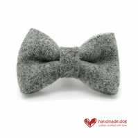Light Grey 'Harris Tweed' Dog Bow Tie