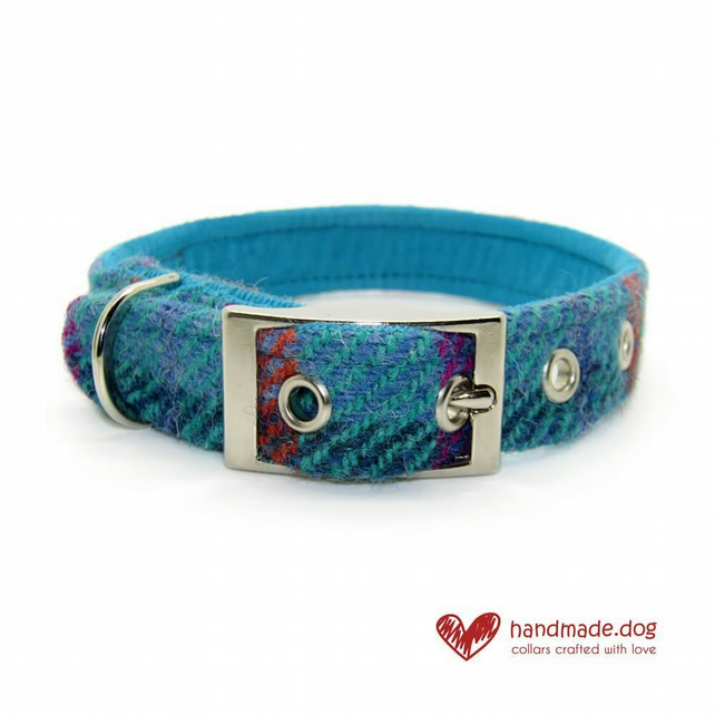 Turquoise Check 'Harris Tweed' Dog Collar