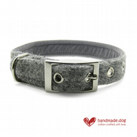 Light Grey 'Harris Tweed' Dog Collar