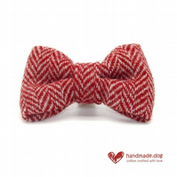 Red Herringbone 'Harris Tweed' Dog Bow Tie