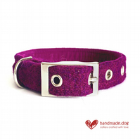 Plum 'Harris Tweed' Dog Collar