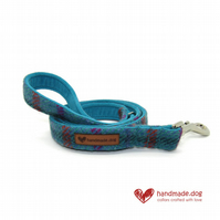 Turquoise Check 'Harris Tweed' Dog Lead