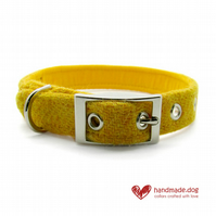 Yellow 'Harris Tweed' Dog Collar