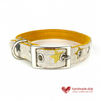 Yellow, White and Grey Stars Dog Collar