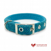 Turquoise and Green Herringbone 'Harris Tweed' Dog Collar