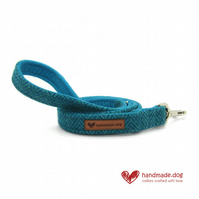 Turquoise and Green Herringbone 'Harris Tweed' Dog Lead