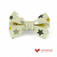 Yellow, White and Grey Stars Dog Bow Tie