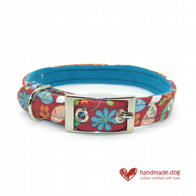 Coral and Turquoise Flowers Dog Collar