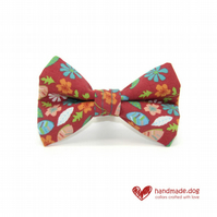Coral and Turquoise Flowers Dog Bow Tie