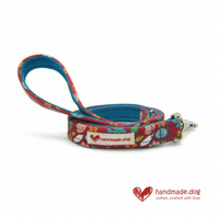 Coral and Turquoise Flowers Dog Lead
