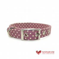 Mauve Spotty Dog Collar