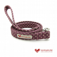 Mauve Spotty Dog Lead