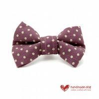 Mauve Spotty Dog Bow Tie