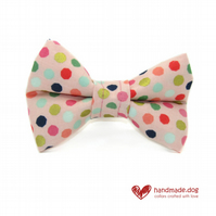 Pink Spotty Dog Bow Tie
