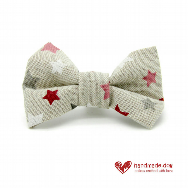 Pink Stars Dog Bow Tie