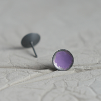 Mauve Oxidised Sterling Silver Little Stud Earrings