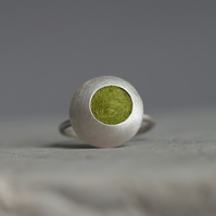 Green Funky Dots Sterling Silver Disc Ring