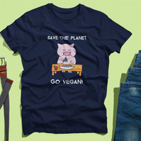 Save The Planet - Go Vegan Heavy Weight T-Shirt