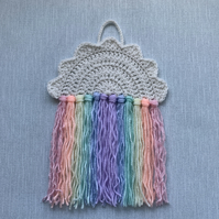 Handmade Crochet Cloud Pastel Rainbow Nursery Wall Hanging